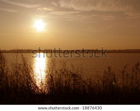Light brown sunset - stock photo