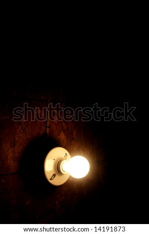 light bulb and a dark grungy background vertical - stock photo