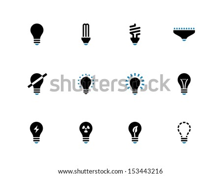 Light bulb and CFL lamp duotone icons on white background. See also vector version.