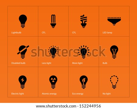 Light bulb and CFL lamp icons on orange background. See also vector version.