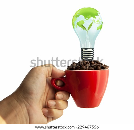 light bulb and coffee beans in red cup isolated on white background  - stock photo
