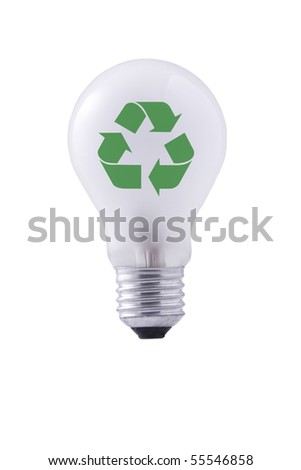 light bulb and green recycling sign on white background
