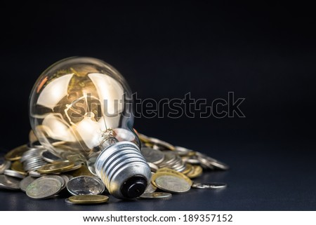 Light bulb and pile of coins, can be used as business idea or energy saving concept - stock photo