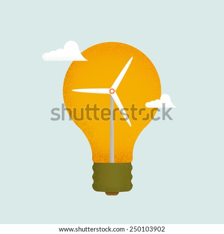 Light bulb and wind mill generator. Alternative energy concept  - stock photo