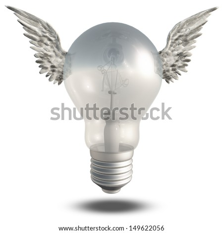 Light Bulb and Wings - stock photo