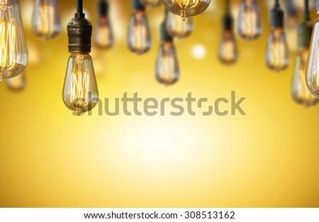 light bulb background - stock photo