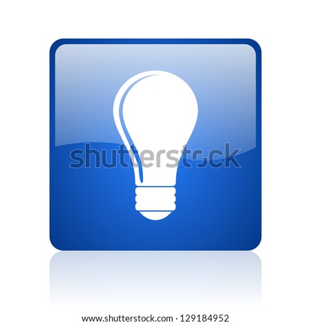 light bulb blue square glossy web icon on white background - stock photo