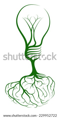 Light bulb brain tree concept of a tree growing in the shape of a lightbulb from roots in the shape of a brain. Could be a concept for ideas, inspiration or knowledge - stock photo