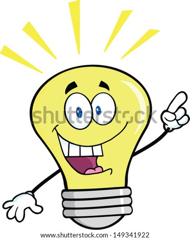 Light Bulb Cartoon Mascot Character With A Bright Idea.  - stock photo