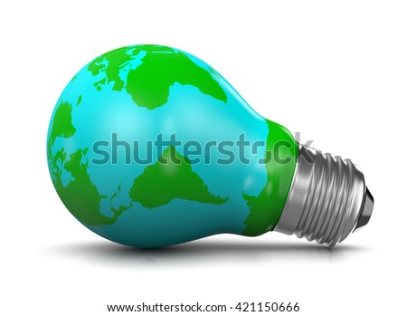 Light Bulb Covered with a World Map, 3D Illustration on White Background - stock photo