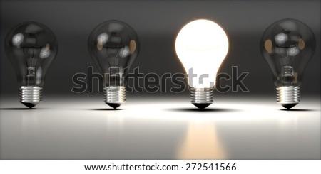 Light Bulb. 3D. Creative One - stock photo