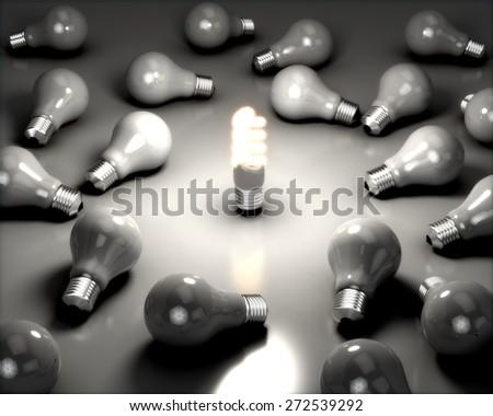 Light Bulb. 3D. Saving Energy - stock photo