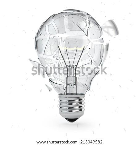 Light bulb exploding. Concept of idea. 3d - stock photo