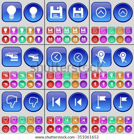 Light bulb, Floppy disk, Arrow up, Helicopter, Arrow left, Checkpoint, Dislike, Media skip, Golf hole. A large set of multi-colored buttons. illustration - stock photo