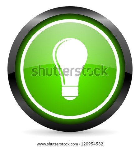 light bulb green glossy icon on white background - stock photo