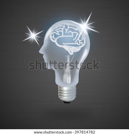 light bulb head - stock photo