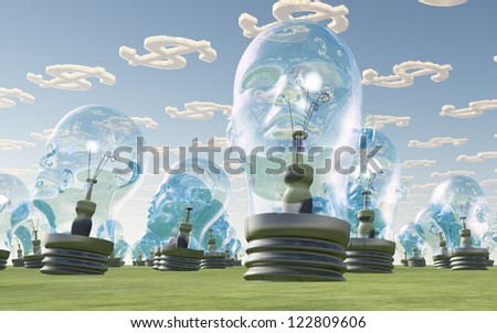 Light Bulb heads and dollar symbol clouds - stock photo
