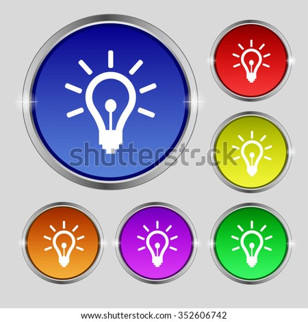 Light bulb icon sign. Round symbol on bright colourful buttons. illustration - stock photo