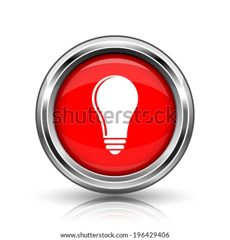 Light bulb - idea icon. Shiny glossy internet button on white background.  - stock photo