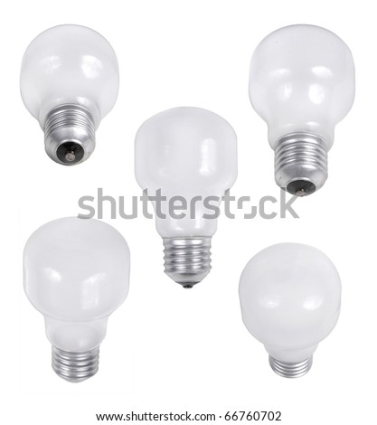 light bulb in five different angle of shoot - stock photo