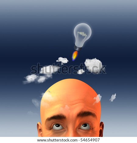 Light bulb in form of rocket lift above mans head - stock photo