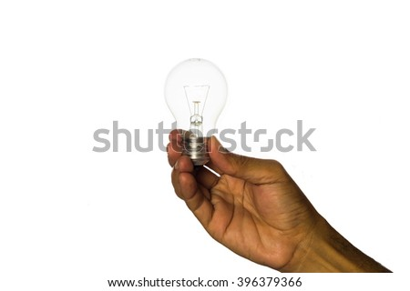 Light bulb in woman hand,Realistic photo image.