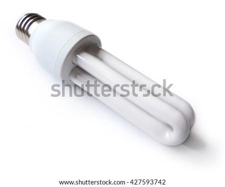 Light bulb, isolated on white - stock photo
