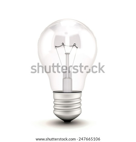 Light Bulb isolated on white background. 3d light Bulb. - stock photo