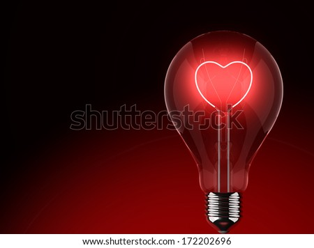 Light bulb lighting red with heart - stock photo
