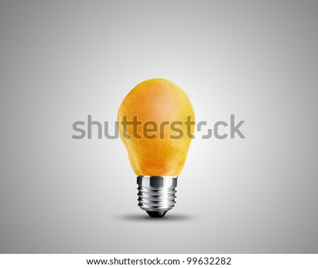 light bulb made from Yellow pear, light bulb conceptual Image. - stock photo