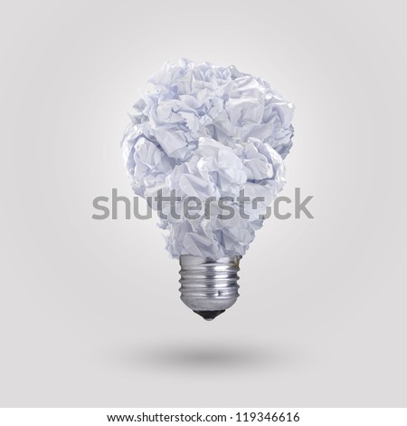 light bulb made of crumpled paper - stock photo