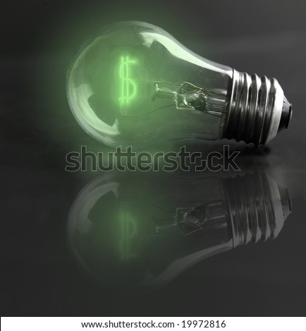 light-bulb money-sign (energy costs) - stock photo