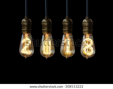 light bulb,new year 2018 - stock photo