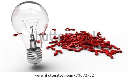 Light bulb next to a pile of red plastic question marks - stock photo
