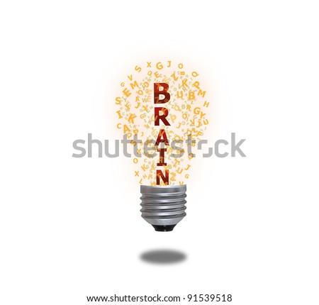 Light bulb of brain - stock photo