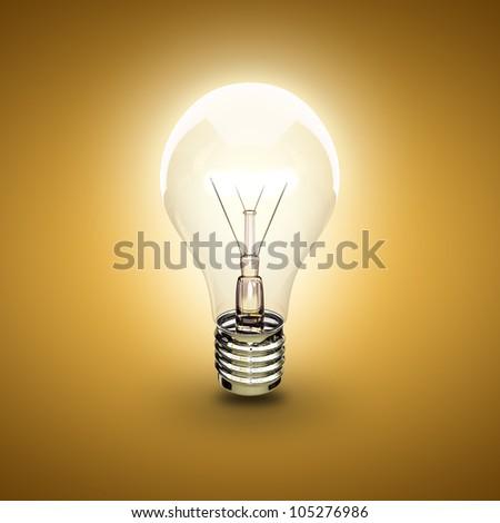 light bulb on a orange background - stock photo