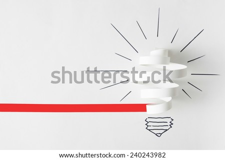 Light Bulb. Paper cut on a white background. - stock photo