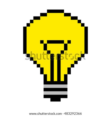 Light bulb pixel art; Idea concept