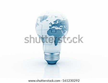 Light bulb puzzle with world map