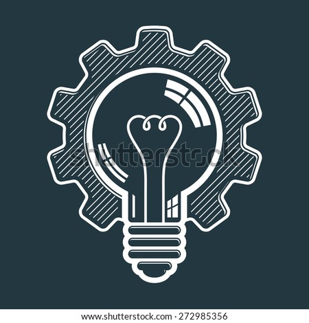 light bulb shape, high quality cog wheel. Technical solution symbol, manufacturing and business idea icon, retro graphic gear. Industry innovation design element. - stock photo