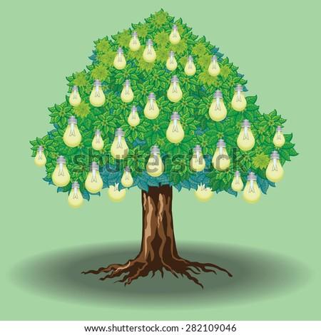 Light bulb tree on green background - stock photo