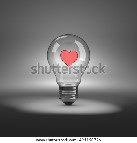 Light Bulb under Spotlight with Red Heart Shape Inside 3D Illustration