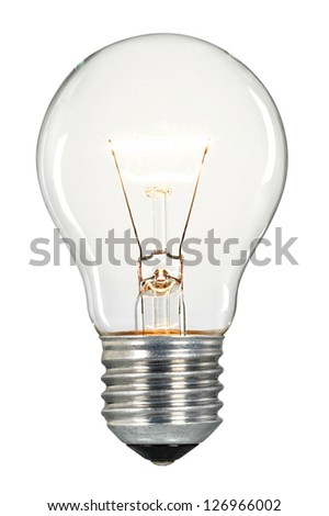 Light bulb with a screw fitting isolated on a white background - stock photo