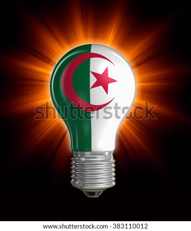 Light bulb with Algerian flag.  Image with clipping path - stock photo