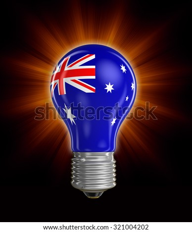 Light bulb with Australian flag (clipping path included) - stock photo