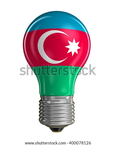 Light bulb with Azerbaijan flag.  Image with clipping path - stock photo