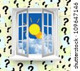 Light Bulb With Blue Sky Outside The Window With Question Mark Label Background - stock photo