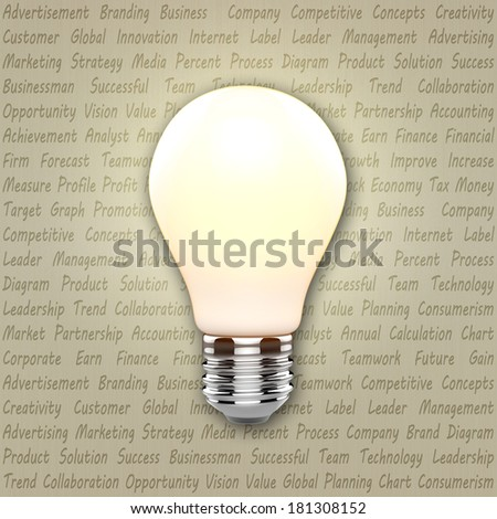 Light bulb with business marketing text - stock photo