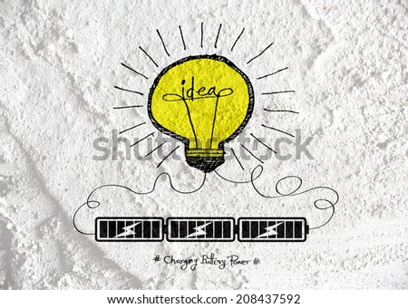 Light bulb with Charging Battery Power Idea on wall texture background design