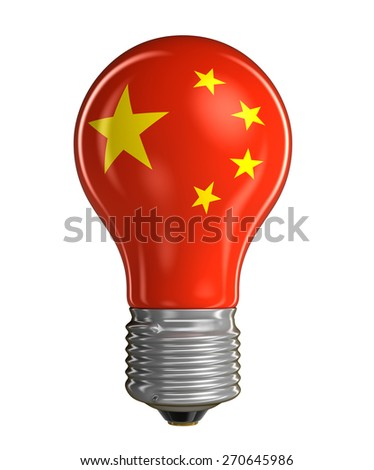 Light bulb with Chinese flag (clipping path included) - stock photo